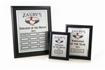 Ebony, Matte Black MRP (Monthly Recognition Program)1 Master Plaque, 12 Individual Monthly Plaques, and 1 Yearly Winners Plaque - your choice of Gold or Silver Plates - shipped within 3-5 working days. * Price includes your logo in black.  Color logos are available with a one-time set-up fee of $35.00. *  Each month you will receive 2 name plates for the monthly winner via  mail (one for the Master plaque and one for that month's individual  plaque). * The shipping cost for the entire program is minimal at $50.00.           Click HERE to see all our MRP Programs or call 800-830-3386.