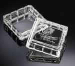 "Crystal Trinket Box 3¾"" glass square case is a high-class compliment to any desk and perfect for storing anything from paper clips to candy. Etched copy placed on top. Call 800-830-3386 to buy now!"