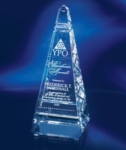 10 Optic Crystal Master ObeliskThis optic crystal obelisk award is a towering symbol of achievement with ample space to engrave your custom message.Call 800-830-3386 to buy now!