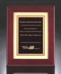 12 x 15 Piano Rosewood Frame Plaque Rosewood Piano Finish Frame Plaque with a brushed gold metal background and black brass engraving plate. Heavy lacquer finish. Lettering & logo included.Individually boxed.Call 800-830-3386 to buy now!