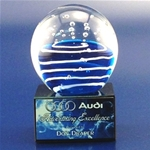 Hydra Art Glass On Marble BaseThis Art Glass Globe Award comes mounted on a Black Marble Base. The Globe measures 3 in diameter and 4½ in total height. 