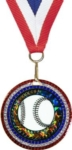 2-3/4 Red White & Blue Glitter Medal with 2 Activity Insert   Your  choice of stock insert or your custom logo.Special Order. Ask your salesperson for details.Call 800-830-3386 to buy now!