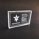 2.5 x 4 Clear Glass Starphire PaperweightReproduce a business card with this half-inch thick crystal. Add your custom logo or message. Color printing available.Call 800-830-3386 to buy now!