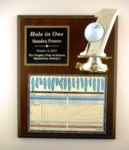 13 x 10.5 Cherrywood Hole-In-One Golf Plaque With Plexiglass & FigureNumber 1 figure and golf ball holder mounted on a cherrywood-finished board with a plaque and scorecard behind plexiglass.Call 800-830-3386 to buy now!