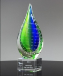 10.5 Oceanaire Teardrop AwardBlue and Green swirls are encapsulated in a crystal teardrop set on an optic crystal base and deep etched with your custom inscription.New item! Call 800-830-3386 to buy now!