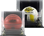 Ball Display Case with Mirror Back Clear attractive display for either Basketball, Soccer Ball or Volleyball. Mounted on a ebony-acrylic base to showcase that special achievement while keeping your cherished memory protected.