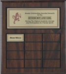 12 Plate Routed Perpetual Plaque Hand-rubbed walnut-tone finish with 12 routed sections & polished engraving plates this perpetual plaque is appropriate for just about any setting. Perpetual plaque is supplied with 12 perpetual plates and a distinctive head plate.
