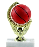 Basketball - Spin Squeeze Ball TrophyThe Full Color soft-touch Mini Sport Ball is Spinnable, Squeezable and Removable for added fun. Add color and fun to your presentation with this NEW Product. Gold-tone personalization plate is applied to solid real marble base.