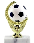 Soccer Ball - Spinning Squeeze Ball TrophyThe Full Color soft-touch Mini Sport Ball is Spinnable, Squeezable and Removable for added fun. Add color and fun to your presentation with this NEW Product! Gold-tone personalization plate is applied to solid marble base.