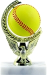 Softball - Spin Squeeze Ball TrophyThe Full Color soft-touch Mini Sport Ball is Spinnable, Squeezable and Removable for added fun. Add color and fun to your presentation with this NEW Product. Gold-tone personalization plate is applied to solid marble base.