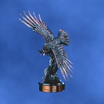 17½ Bronze Finish Eagle with Spread Wings on BaseThis finely detailed sculptured 17½ Antique Copper Finished Eagle is perched on an Ebony presentation base. Personalize with matching copper plate. Call 800-830-3386 to buy now!