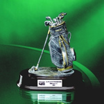 7½ Pewter Finish Golf BagThis Hand-Crafted Golf Bag and Clubs Sculpture is 7 1/2 pewter finished resin figurine with gold highlights. The sculptured lifelike golf bag w/clubs is set on a mahogany base. Call 800-830-3386 to buy now!
