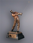 Bronze Resin GolferThis Cast Resin Golfer has an antique finish and is very detailed. A metal tone plate is provided on the base for personalization. Available in heights of 10, and 12. Call 800-830-3386 to buy now!