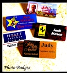 High Quality Name Badges using full color photo images! We can take any photo (electronic file) and use it to add a personal touch to your Name Badges. These are excellent for Security needs as well. Use one photo for the background and then your company logo in the foreground for a striking effect that promotes your unique brand image.Call 800-830-3386 for questions or to buy now!