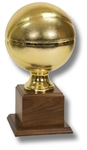 Basketball - Gold Metalized Replica Sport BallThis Official-Size replica is displayed on a walnut base. A Great Team or Individual Award. An engraving plate is supplied and marked to acknowledge your top performer.