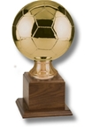 Soccer Ball - Gold Metallized Replica Sport BallThis Official-Size replica is displayed on a walnut base. A Great Team or Individual Award! The engraving plate is supplied and marked to acknowledge your top performers!