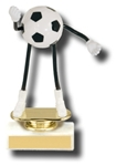 Soccer Flexible Trophy DudeThis cute participation award has flexible arms and legs that the kids will love to play with. This unique award is presented on a solid marble base. The engraving plate is marked to acknowledge your top performers.