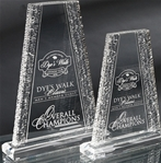 The craftsmanship of this unique rising tower and the crinkle design running along both sides sets off your top performers accomplishments. Reverse precision laser engraving adds depth to your logo and personalization.Set-up and Etching Charge $35Additional Units $15