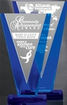 Victory and valor are the character traits for this Silver and Blue Acrylic V award. The tower of Blue and Silver is mounted on a Blue Acrylic Base. Reverse precision laser engraving adds depth to your logo and personalization.Set-up and Etching Charge $35Additional Units $15