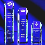 Distinctive Acrylic Hexagon Tower. This crystal-clear acrylic award is hand-cut machine polished and hand buffed to a brilliant luster. Laser engraving the reverse side of the tower for that special achievement captures meticulous detail.Set-up and Etching Charge $35Additional Units $15