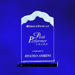 Sculptured Whitecap Wave Top Edge - Clear Acrylic Award. The flowing sculptured triple edge frosted design caps this award. Detailed laser engraving add frosted appreciation and recognition for your peak performers..Set-up and Etching Charge $35Additional Units $15
