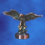 Majestic Breathtaking and Beautiful! This finely detailed sculptured 11 Antique Copper Finished Eagle is perched on an Ebony presentation base. Personalize with matching copper plate. There is no better way to recognize your soaring keen-eyed performers!Additional Charges For Engraving and Logos