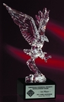 Power and majesty of our national symbol is beautifully portrayed in acrylic! The Acrylic Eagle is mounted on a solid black marble base. A plate is mounted to the front of the marble base to hilite and honor the recipient of this marvelous award.Additional Charges For Engraving and Logos