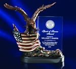 Forever recognize your recipient with this symbol of pride, leadership and freedom. This bronzetone eagle soaring over the handpainted, intricately detailed American Flag supports a clear crystal panel that tells the heroic story.Additional Charges For Engraving and Logos