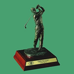 This 12 Antique Bronze Hand Crafted Resin Golfer is holding his pose which provides something completely different for your upcoming golf event. The sculptured lifelike golfer is set on an elegant Rosewood base with brass personalization plate. Great for Low Net Low Gross or Member-Guest Awards.Additional Charges For Engraving and Logos