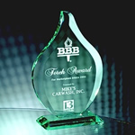 Fan the flames of accomplishment with this 8 3/4 Jade Crystal Flame award. Etching adds depth to the hand-cut beveled edges and soft green highlights of each elegant jade crystal piece.Set-up and Etching Charge $50Additional Units $25