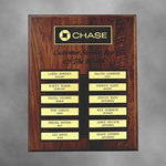 "This 12""x15"" Solid Walnut Perpetual plaque with 12 plates is a must for recognizing Achievement in the Workplace. The Precision Laser cut background and header add simple Elegance to an already Beautiful piece. Price includes all header lettering one logo one color accent and lettering on 12 individual plates.Includes header plate lettering and logo; Individual plate lettering is additional"