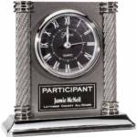 Black Acrylic Arch Promotional Clock.  Featuring precision quartz movement and antique silvertone columns. Individually boxed.  Batteries not included.  A great Coaches gift!