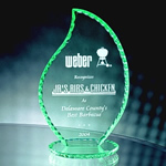 Honor the best with the soft green-tinted edges this 9 3/4 Pearl Edge Jade Crystal Flame Award. Its depths are manifested as light strikes it from every angle. Etched to perfection to communicate your appreciation. NEW DESIGN!
