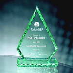 Honor the best with the soft green-tinted edges this 7 Pearl Edge Jade Crystal Triangle Award. Its depths are manifested as light strikes it from every angle. Etched to perfection to communicate your appreciation. NEW DESIGN!